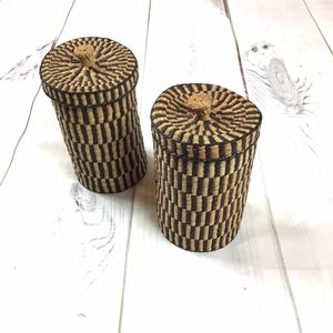 Vintage Grass Weave Baskets by Chinese Artisans